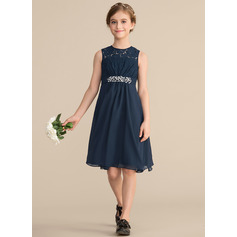 A-Line Scoop Neck Knee-Length Chiffon Lace Junior Bridesmaid Dress With Beading Sequins Bow(s)