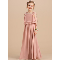 Floor-length Flower Girl Dress - Chiffon Sleeveless Square Neckline Straps With Ruffles (269193720)