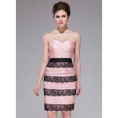 Sheath/Column Sweetheart Knee-Length Taffeta Cocktail Dress With Ruffle Lace