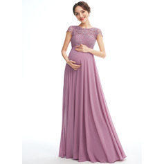 A-line Scoop Neck Floor-length Chiffon Lace Maternity Bridesmaid Dress With Pockets (045251918)