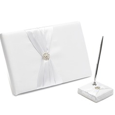 Pure Rhinestones/Bow Guestbook & Pen Set