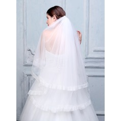 Two-tier Ribbon Edge Fingertip Bridal Veils With Applique