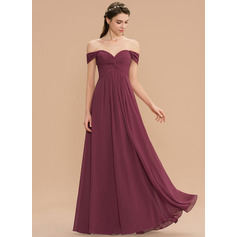 A-Line Sweetheart Floor-Length Chiffon Bridesmaid Dress With Ruffle