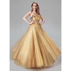 Ball-Gown Sweetheart Floor-Length Tulle Prom Dresses With Sequins
