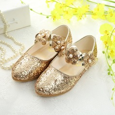 Girl's Sparkling Glitter Flat Heel Closed Toe Flats With Flower