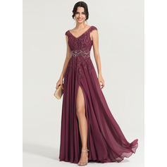 A-Line V-neck Floor-Length Chiffon Evening Dress With Beading Sequins (271253271)