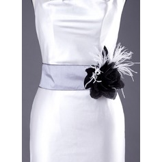Simple Taffeta Sash With Flower/Feather