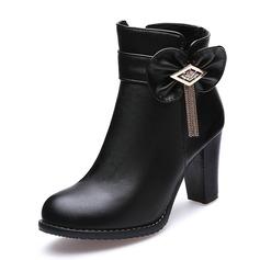 Kvinner Lær Stor Hæl Pumps Lukket Tå Støvler Ankelstøvler med Bowknot Tassel sko