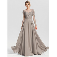 A-Line/Princess Scoop Neck Floor-Length Chiffon Evening Dress With Beading Sequins (017153635)
