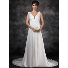 A-Line/Princess V-neck Court Train Chiffon Wedding Dress With Ruffle Crystal Brooch Bow(s)