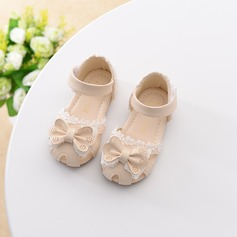 Girl's Leatherette Flat Heel Closed Toe Flats With Velcro Hollow-out