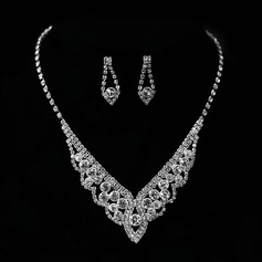 Flower Shaped Alloy With Rhinestone Women's Jewelry Sets (137144865)