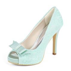 Women's Lace Stiletto Heel Peep Toe Platform Pumps With Bowknot