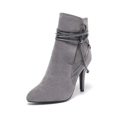 Women's Suede Stiletto Heel Pumps Closed Toe Boots Ankle Boots With Lace-up shoes