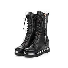 Leatherette Wedge Heel Mid-Calf Boots Riding Boots With Braided Strap shoes