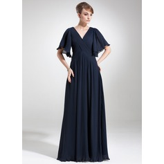 Empire V-neck Floor-Length Chiffon Mother of the Bride Dress With Cascading Ruffles