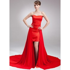 A-Line/Princess Sweetheart Asymmetrical Detachable Chiffon Satin Holiday Dress (020026005)
