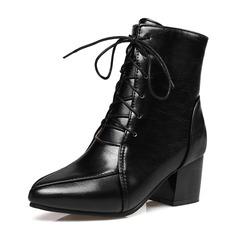 Kvinner PU Stor Hæl Pumps Støvler Mid Leggen Støvler med Båndknute Glidelås sko