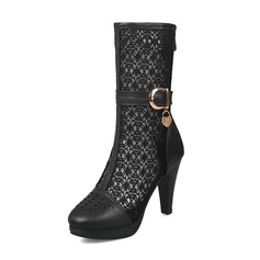 d6b2fd2d80a1 Women s Leatherette Mesh Stiletto Heel Boots Mid-Calf Boots With Buckle  shoes