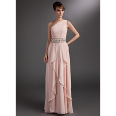 A-Line/Princess One-Shoulder Floor-Length Chiffon Mother of the Bride Dress With Beading Cascading Ruffles