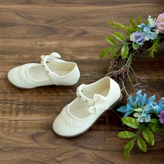 Girl's Round Toe Closed Toe Satin Flat Heel Flower Girl Shoes With Bowknot Imitation Pearl