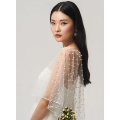 One-tier Cut Edge Elbow Bridal Veils/Fingertip Bridal Veils/Waltz Bridal Veils With Faux Pearl