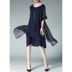 Cotton/Chiffon With Stitching Knee Length Dress (Two Pieces ) (199126873)