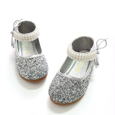 Girl's Closed Toe Sparkling Glitter Flat Heel Flats Flower Girl Shoes With Bowknot Imitation Pearl Sparkling Glitter Velcro