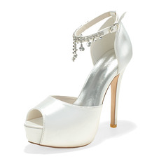 Women's Satin Stiletto Heel Peep Toe Sandals With Chain