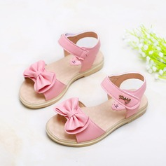 Girl's Peep Toe Slingback Leatherette Flat Heel Sandals Flats Flower Girl Shoes With Bowknot