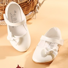 Jentas Lukket Tå Leather flat Heel Flower Girl Shoes med Bowknot