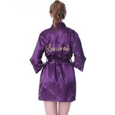 Personalized Satin Bridesmaid Glitter Print Robes