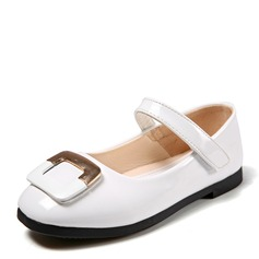 Girl's Closed Toe Ballet Flat Patent Leather Flat Heel Flats Flower Girl Shoes With Rhinestone Velcro