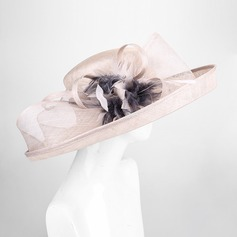 Dames Charme/Style Vintage Batiste avec Feather/Une fleur Chapeau melon / Chapeau cloche/Kentucky Derby Des Chapeaux/Chapeaux Tea Party