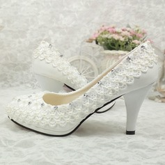 Women's Patent Leather Cone Heel Pumps With Imitation Pearl Rhinestone Stitching Lace