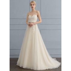 A-Line/Princess Sweetheart Sweep Train Tulle Lace Wedding Dress With Beading Sequins Bow(s)