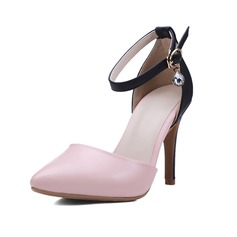 Women's Leatherette Stiletto Heel Pumps Closed Toe With Crystal Buckle shoes