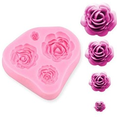 4-hole rose silicone mold (Set of 3)
