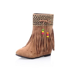 Leatherette Flat Heel Ankle Boots With Tassel shoes