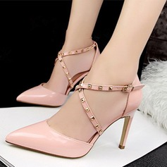 Vrouwen Patent Leather Stiletto Heel Sandalen Pumps Closed Toe met Klinknagel schoenen