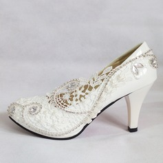 Women's Patent Leather Stiletto Heel Closed Toe Pumps With Imitation Pearl Rhinestone Stitching Lace