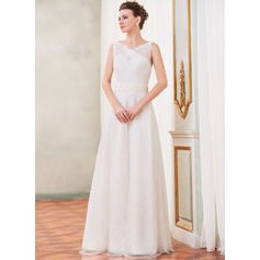 A-Line/Princess V-neck Floor-Length Tulle Lace Wedding Dress With Ruffle Beading Sequins Bow(s)