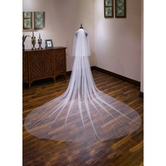 Two-tier Cut Edge Cathedral Bridal Veils With Lace