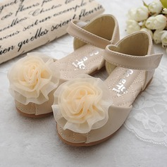 Jentas Titte Tå Leather flat Heel Sandaler Flate sko Flower Girl Shoes med Sateng Sløyfe Velcro