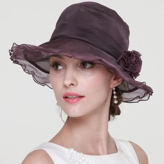 Ladies' Elegant Silk With Silk Flower Floppy Hat