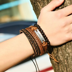 Letter Alloy Leather Rope Unisex Fashion Bracelets (Set of 4)