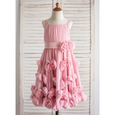 A-Line/Princess Tea-length Flower Girl Dress - Chiffon Sleeveless Straps With Flower(s)/Bow(s)/Pleated