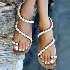Women's Leatherette Flat Heel Sandals Flats Peep Toe With Imitation Pearl shoes