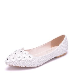 Women's Lace Leatherette Flat Heel Closed Toe Flats With Rhinestone Applique