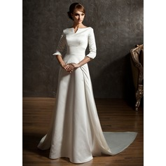 A-Linie/Princess-Linie Off-the-Schulter Watteau-falte Satin Brautkleid
